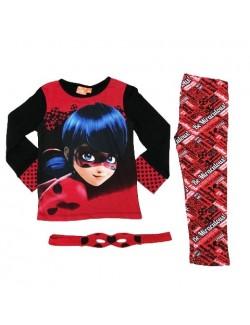 Pijama copii, Buburuza, cu masca, 4-8 ani, rosu-negru