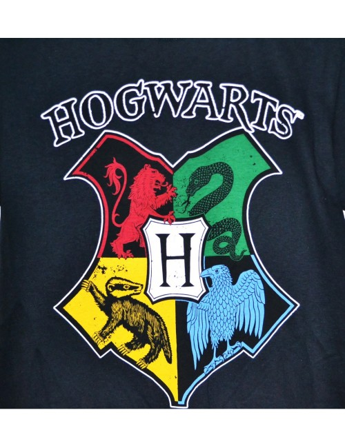 Tricou adulti, Harry Potter Hogwarts, negru S-XXL