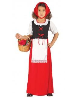 Costum Pastorita, copii 5-9 ani, rosu