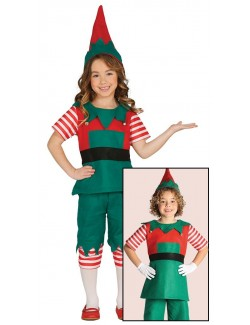 Costum Elf / Spiridus cu pantaloni 3/4, copii 4-5 ani
