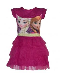 Rochie Disney Frozen, roz-inchis, cu volane, 4-9 ani