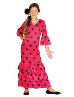 Rochie spaniola / Dansatoare flamenco, fucsia, 7-12 ani