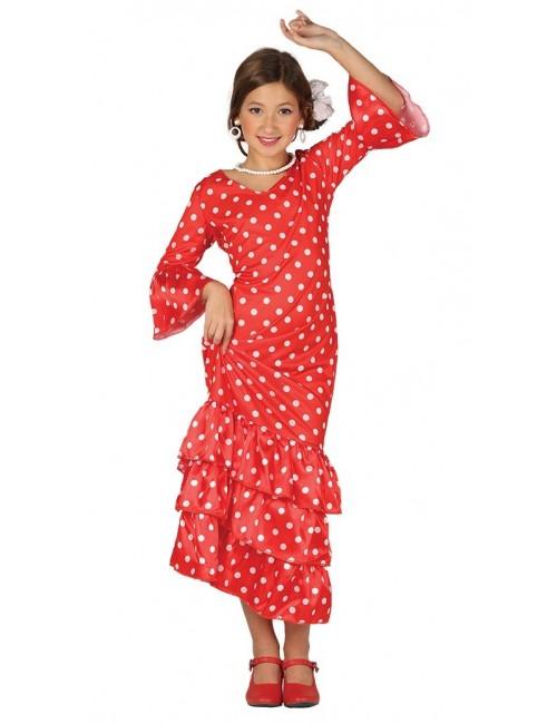Rochie spaniola / Dansatoare flamenco, rosie, 5-12 ani