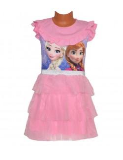 Rochie Disney Frozen, roz-deschis, cu volane, 4-9 ani