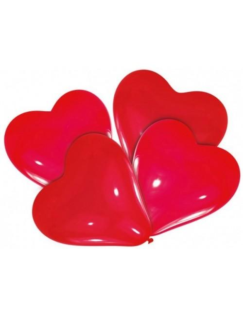 Set 4 baloane rosii, forma inima, 30 cm