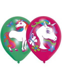 Set 6 baloane Unicorn, mov - verde, 27,5 cm