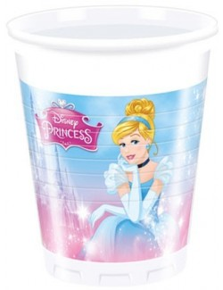 Set 8 pahare plastic, 200 ml, Printesele Disney