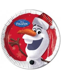Set 8 farfurii carton, Olaf Disney Frozen, 23 cm