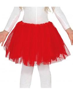 Fusta tutu rosu, fara sclipici, pentru copii, 31 cm