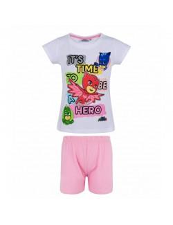 Pijama Eroi in pijamale PJ Masks, alb-roz, 3-8 ani