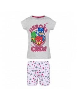 Pijama Eroi in pijamale, copii 3-8 ani, gri - alb