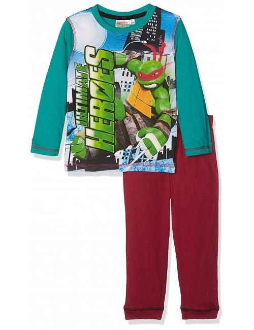 Pijama Testoasele Ninja, verde, baieti  3-8 ani