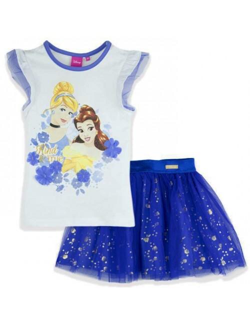 Set Tricou si fusta tutu Printese Disney, alb-albastru, 3-8 ani