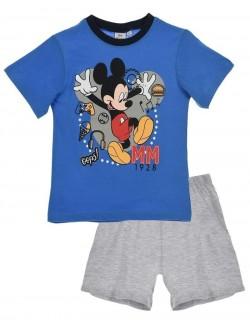 Pijama Mickey Mouse, albastru-gri, baieti 3-8 ani