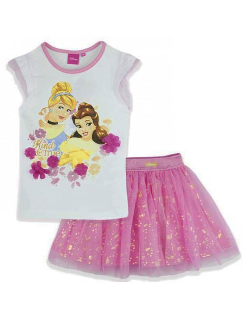 Set Tricou si fusta tutu, alb-roz, Printese Disney, 3-6 ani