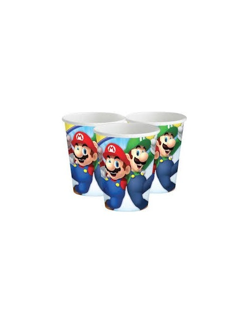 Set 8 pahare carton, 250 ml, Super Mario