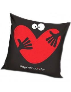 Fata de perna Valentine's Day, neagra, 40 x 40 cm