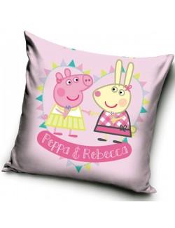 Fata de perna, Peppa si Rebecca, roz, 40 x 40 cm