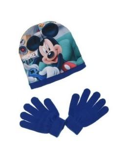 Set Caciula si manusi albastre, Mickey Mouse, 52-54