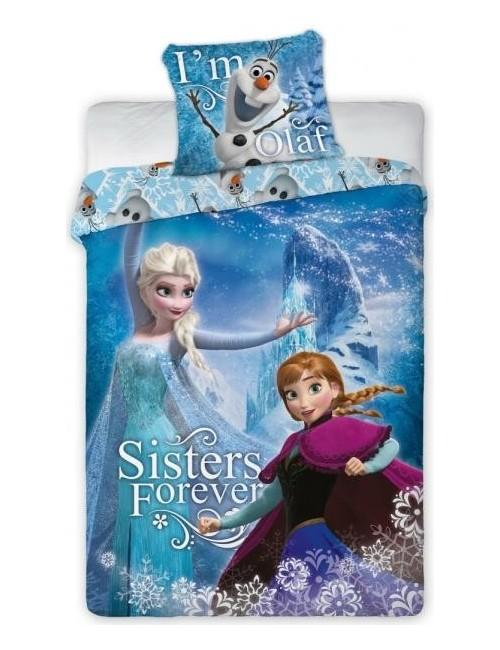 Lenjerie de pat Frozen Ana, Elsa si Olaf, 160 x200 cm