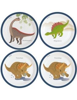 Set 8 farfurii petrecere, Dinozauri, 23 cm