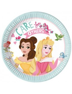 Set 8 farfurii party, Printesele Aurora si Belle, 20 cm