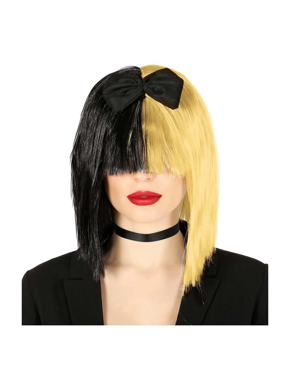 Peruca blond-negru, par mediu