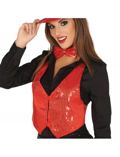 Vesta disco femei, rosie cu paiete