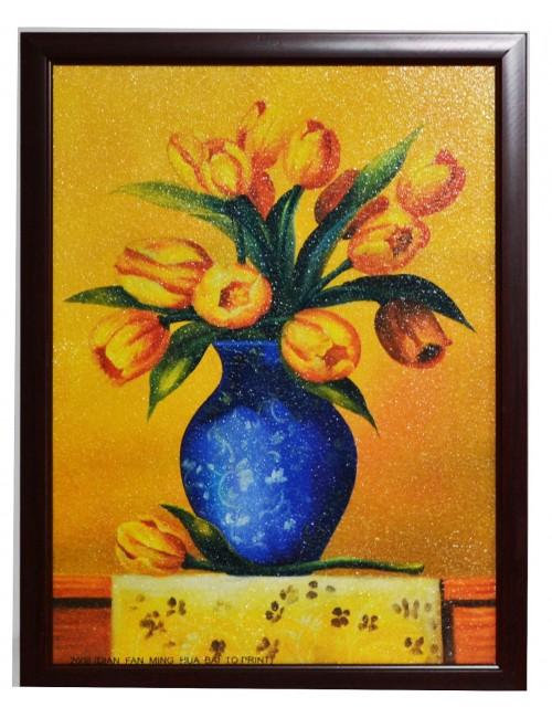 Tablou cu Lalele galbene, imprimat pe MDF, 42 x 32 cm