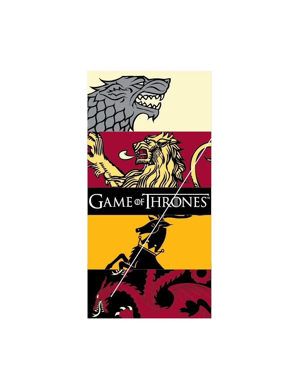 Prosop plaja Game of Thrones Sigilii, 70 x 140 cm