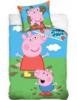 Lenjerie pat Peppa Pig la joaca, 140 x 200 cm