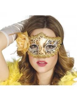 Masca bal mascat, imprimeu leopard si floare