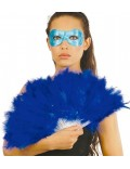 Evantai din pene strut, culoare albastra, 28 cm
