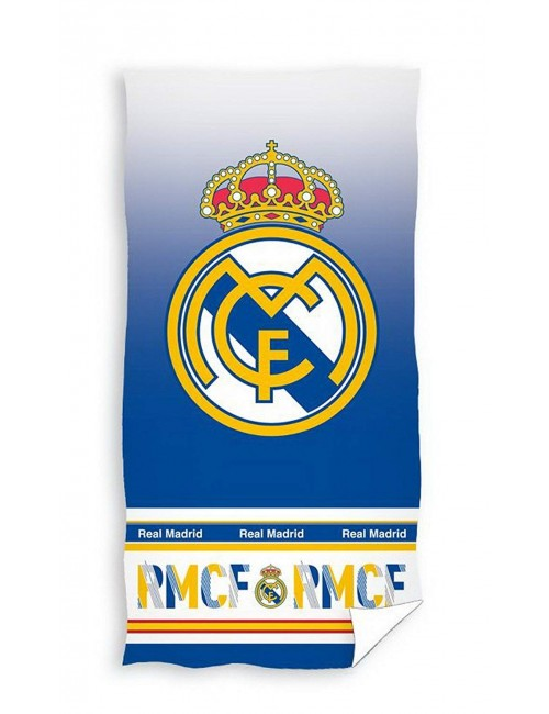 Prosop baie / plaja, Real Madrid, alb-albastru, 140 x 70 cm