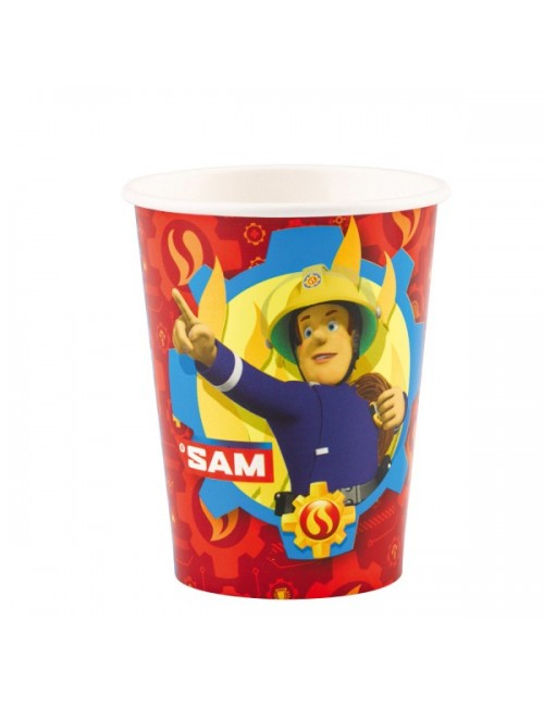 Set 8 pahare carton, Pompierul Sam, 250 ml