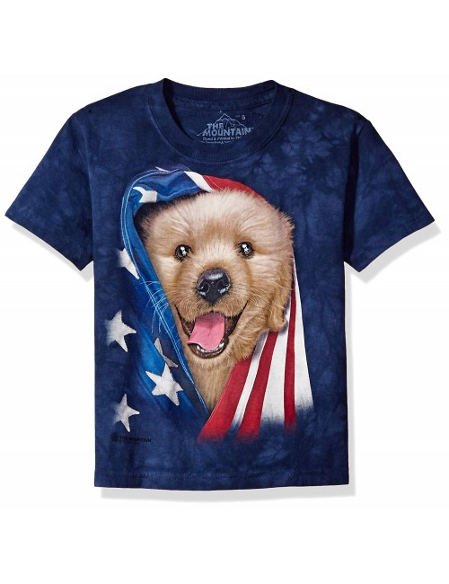 Tricou The Mountain Patriotic Golden Puppy, copii