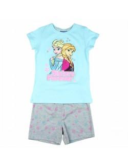 Pijama Ana si Elsa Frozen, fete 2-8 ani, bleu/gri