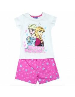 Pijama Ana si Elsa Frozen, fete 2-8 ani, alb/roz