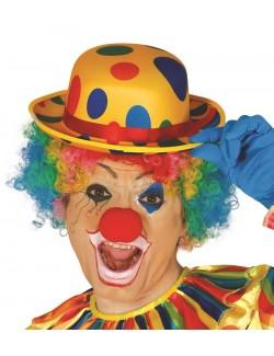 Palarie Clown, galbena cu buline multicolore