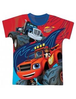 Tricou Blaze si masinile uriase, baieti 3-8 ani, albastru