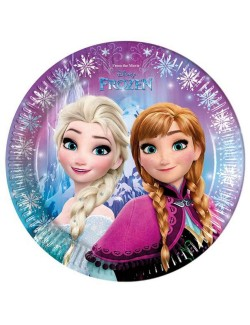 Set 8 farfurii party Elsa si Ana Frozen, 23 cm