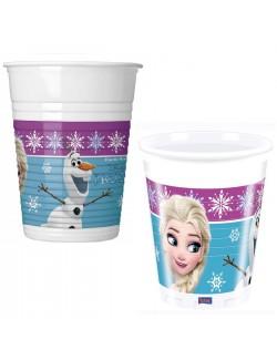 Set 8 pahare plastic, Frozen Elsa si Olaf, 200 ml