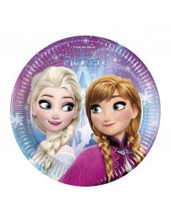 Set 8 farfurii petrecere, Frozen Elsa si Ana, 20 cm