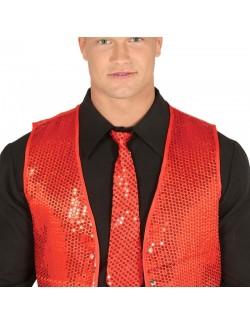 Cravata rosie cu paiete, 34 cm