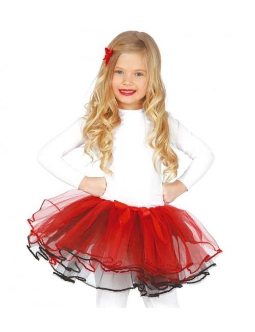 Fusta tutu copii, rosu-negru, 25 cm