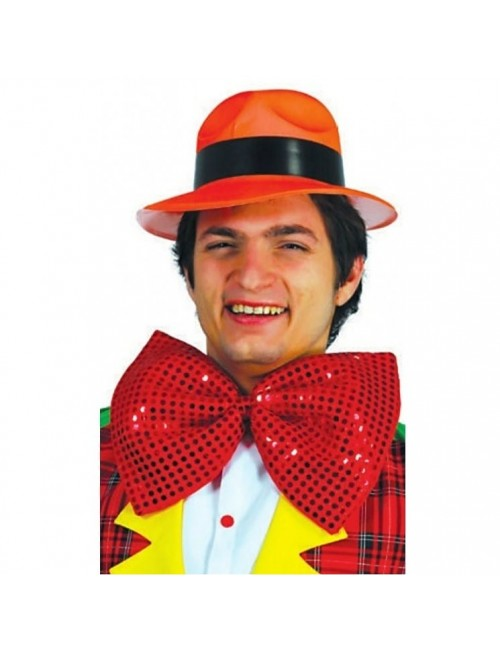 Papion Clown, rosu cu paiete, 30 cm