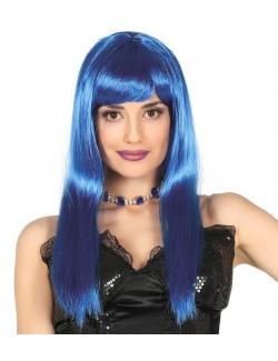 Peruca femei, albastru-neon, par lung