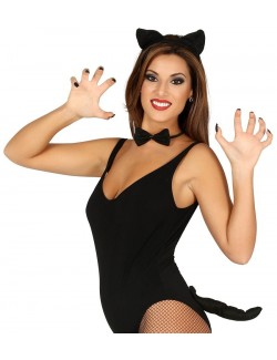 Set Pisica neagra, 3 piese: urechi, papion, coada