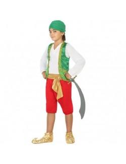 Costum Baiat arab / Aladin, verde-rosu, 5-6 ani