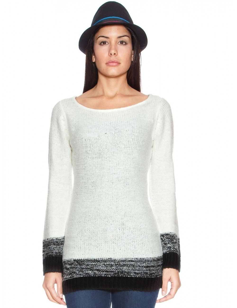 Pulover femei alb cu bordura neagra L - XL